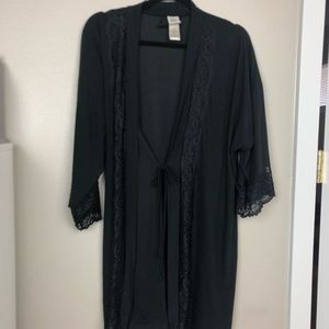 In Bloom Black Lace Trim Robe Small